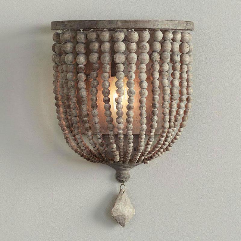 Rustic Single Light Wood/Crystal Beaded Decorative Indoor ... on Wood Wall Sconces Decorative Lighting id=38194