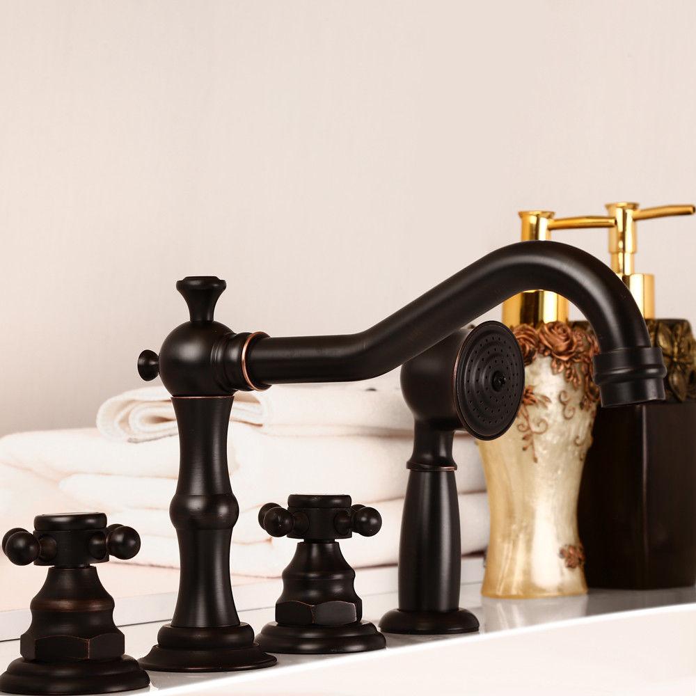 Antique Black Bathtub Faucet Triple Cross Handles Roman