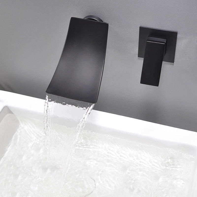 Modern Wall Mounted Waterfall Black Bathroom Sink Faucet Brass