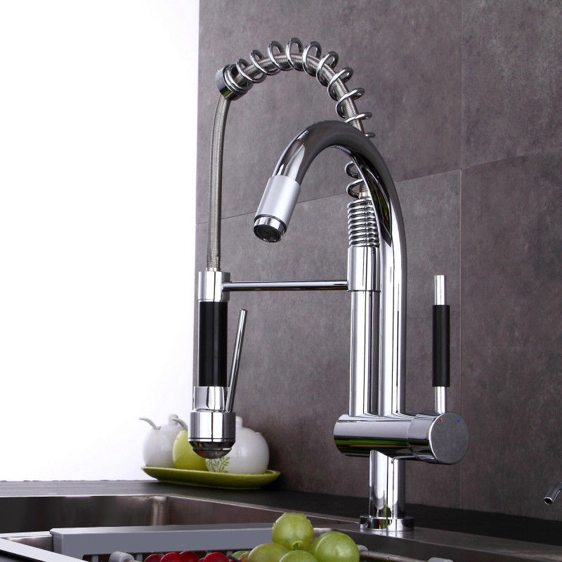 commercial-style led single hole spring pull down kitchen faucet polished chrome   ebay