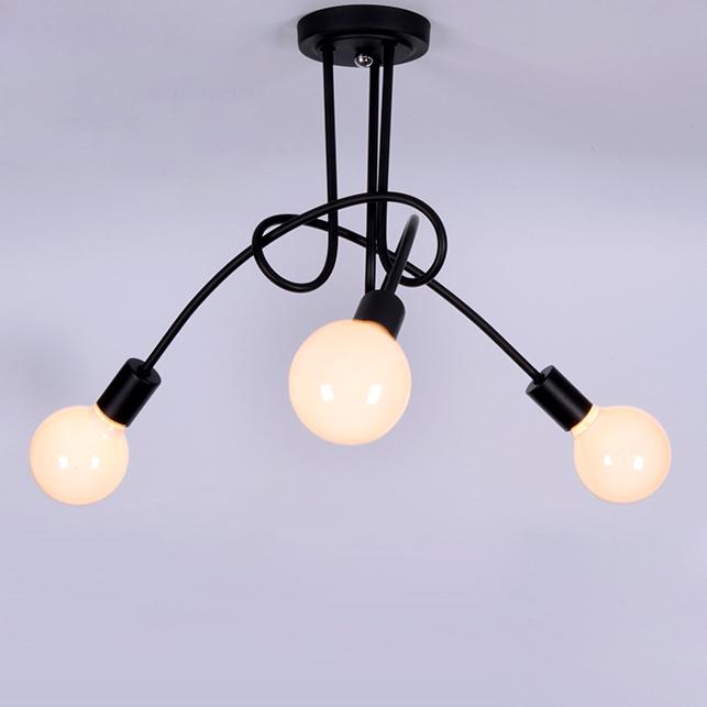 Details About Retro Wrought Iron Semi Flush Fixture Bedroom Ceiling Lights Lamp 3 Light Black