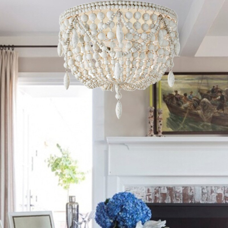 Details about Distressed White Wood Bead Ceiling Light Living Room Bedroom  Chandelier 5-Light