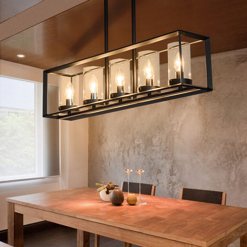 Details about LED Kitchen Island Pendant Light Black Metal Frame Clear  Glass Shade Fixture E12