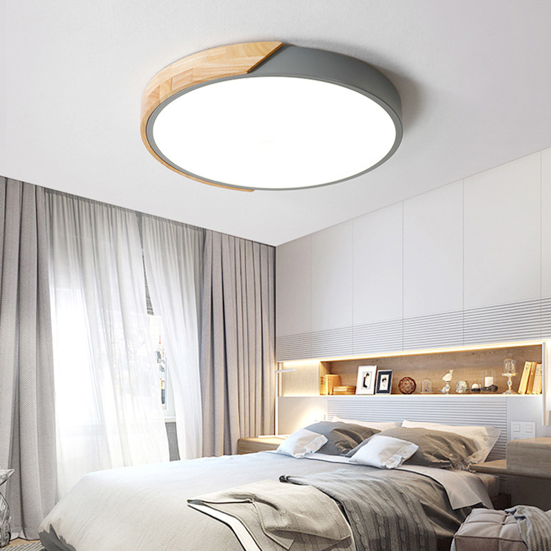 Details About Modern Gray Drum Shaped Ceiling Light Bedroom Wood Acrylic Led Lighting Lamp
