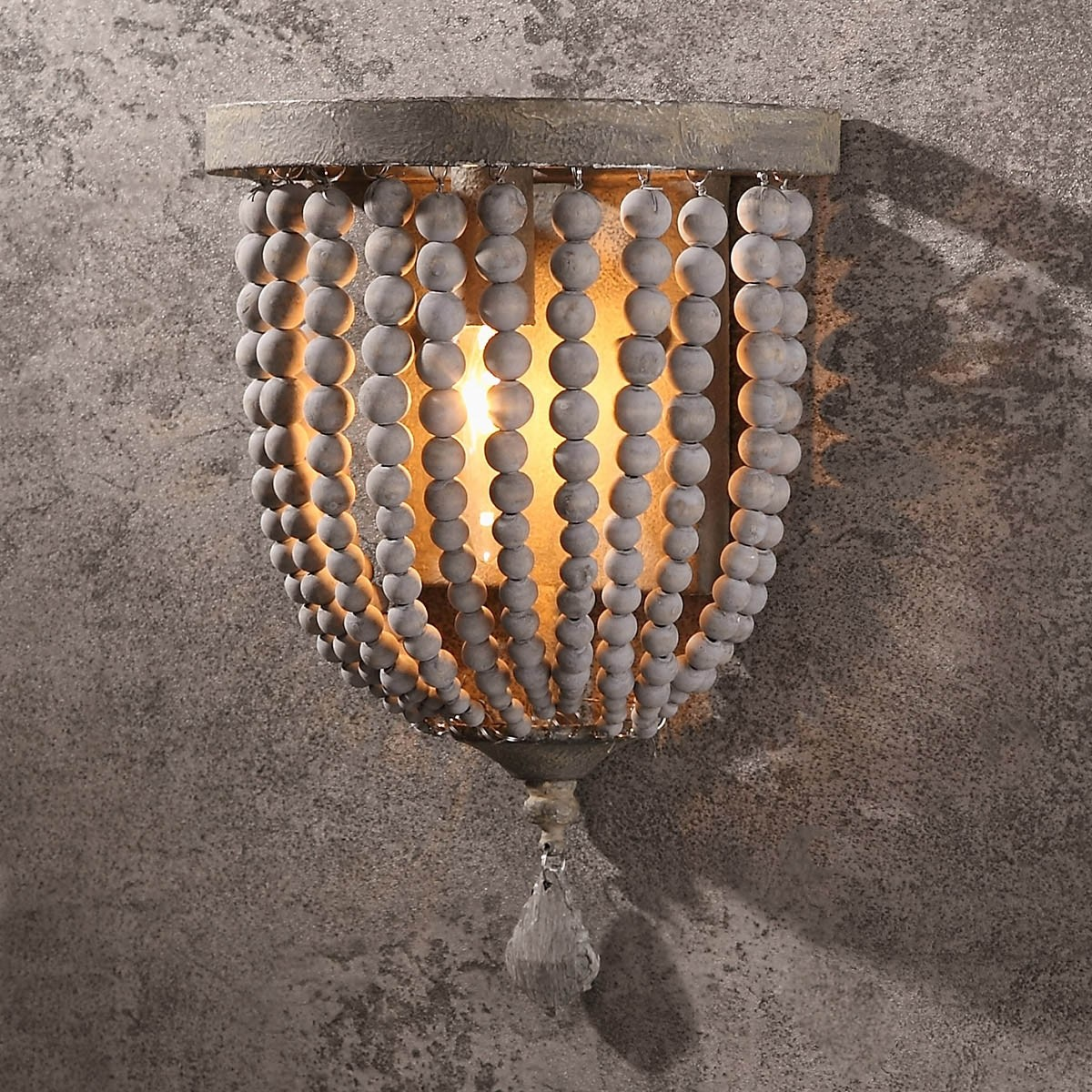Details about Country Distressed Wood Beaded Wall Sconces Single Light  Dining Room Lamp 110V