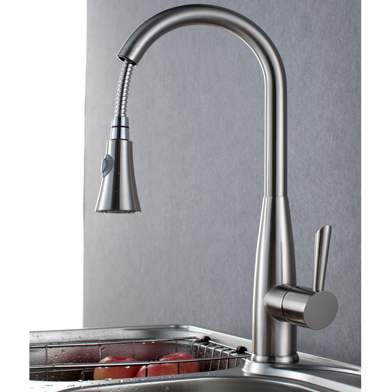 Homary Brushed Nickel Kitchen Faucet with Pull Out Sprayer 360??Swivel Spout