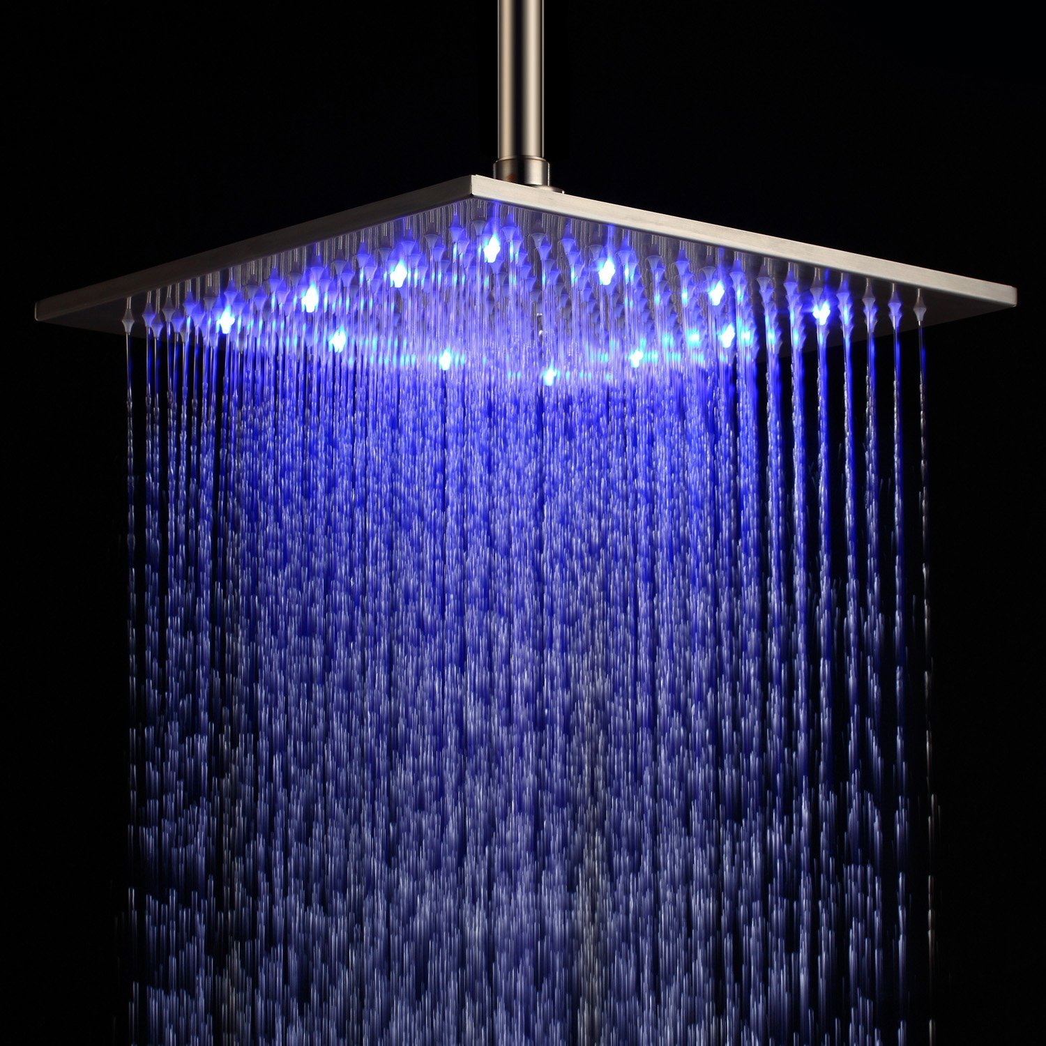 Details About 12 Inch Led Square Ceiling Mount Rain Shower Head Brushed Nickel Stainless Steel