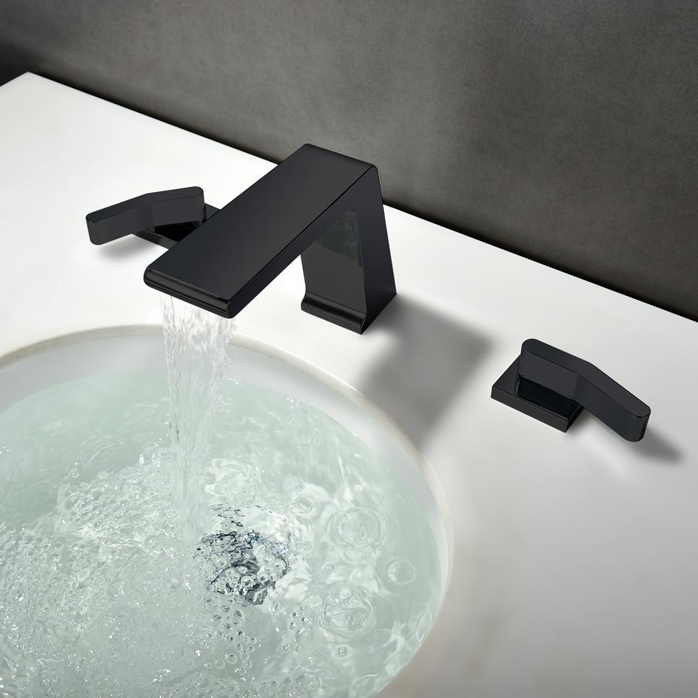 Modern Waterfall Widespread 2 Handle Bathroom Sink Faucet In Black Solid Brass Bath Sink Faucets Plumbing Fixtures