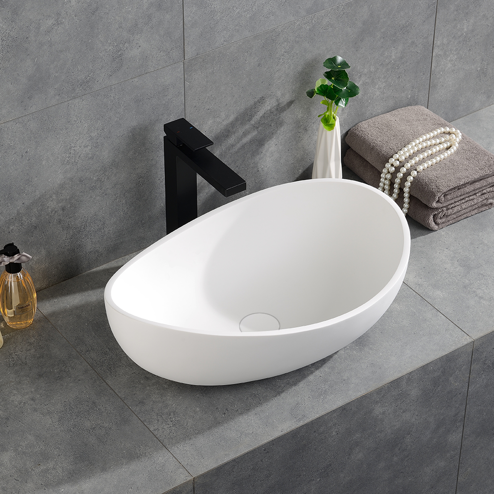 Bathroom Oval Vessel Sink Modern Matte White Countertop ...