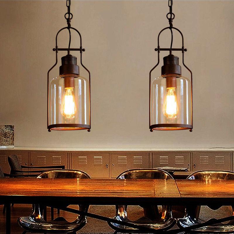 Industrial Clear Glass Metal Lantern Kitchen Island ...