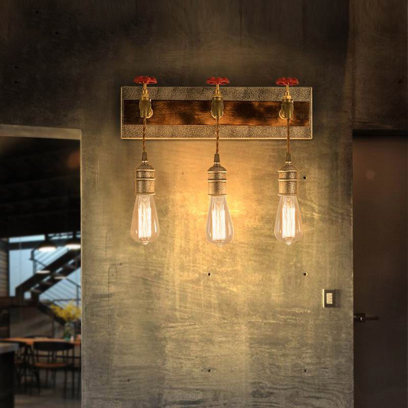 Details About Vintage Wall Lamp Metal Water Pipe Kitchen Light Sconce With Exposed Edison Bulb