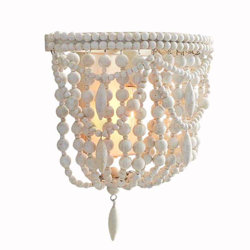 Classic Kids Room Wall Lamp White Wood Beaded 1-Light ... on Wood Wall Sconces Decorative Lighting id=14247