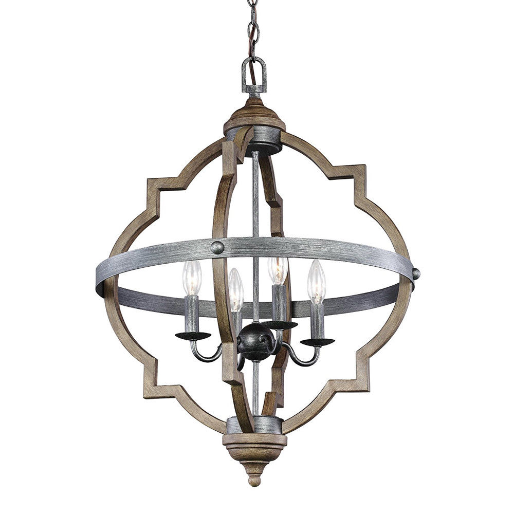Wooden Light Fixtures: Vintage Rustic Wooden 4-Light Fixture Wrought Iron Band