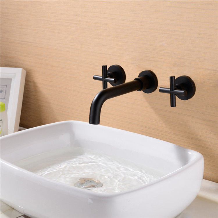 Modern Wall Mount Basin Taps Cross Handle 3 Part Bathroom ...