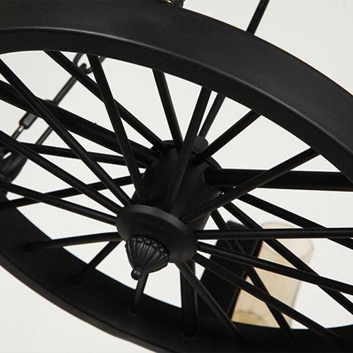 Vintage Suspended Ceiling Lamp Black Wagon Wheel Chimney