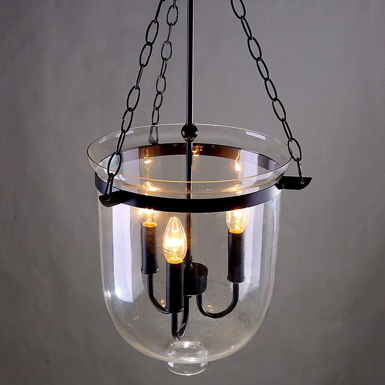 Retro Rustic Clear Glass Bell Jar Pendant Light With 3 Candle Light Ceiling Lamp Ebay