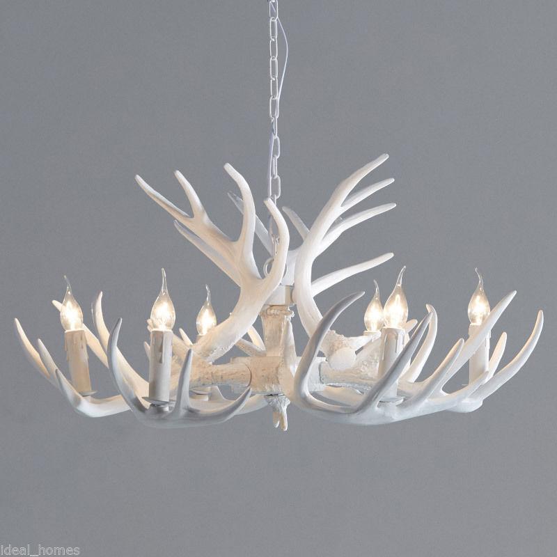 Lodge White Chandelier Lighting Faux Antler Cascade Single
