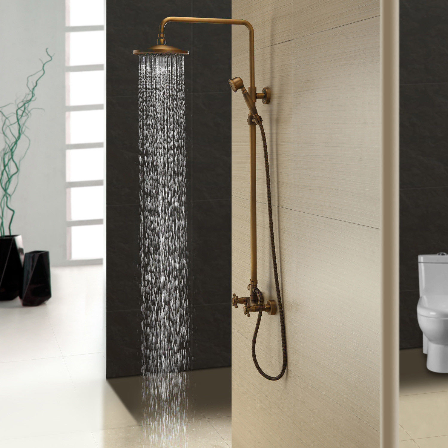Details About Classic Exposed Antique Brass Round Rain Shower Kit With Handshower Solid Brass