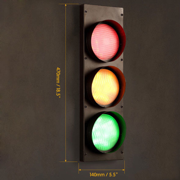 Vintage-Multicolor-Metal-Traffic-Signal-Lights-LED-Lighting-Sconce-Wall-Lamp miniature 12