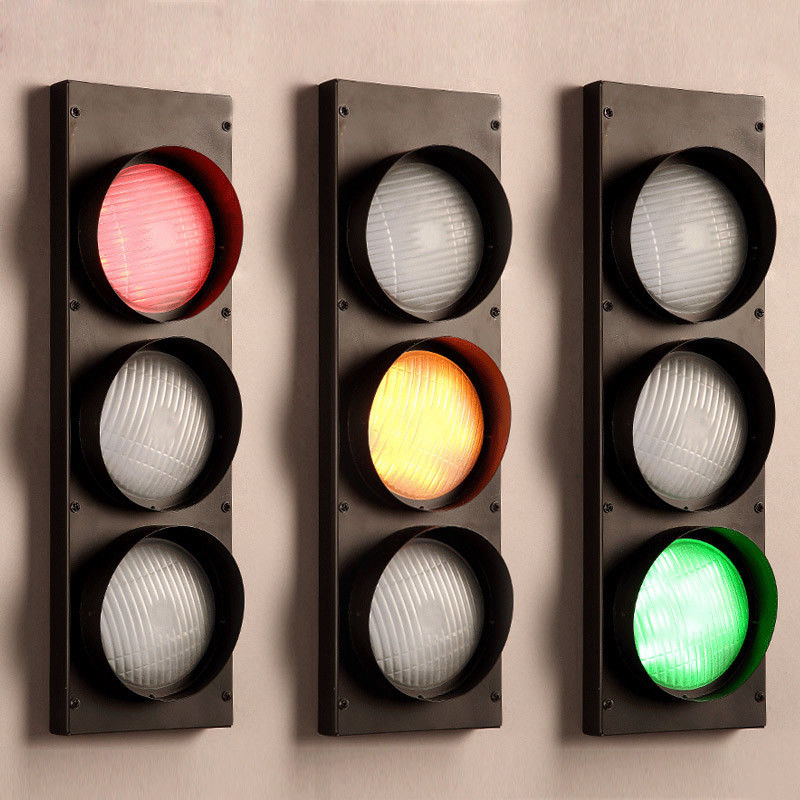 Vintage-Multicolor-Metal-Traffic-Signal-Lights-LED-Lighting-Sconce-Wall-Lamp miniature 9