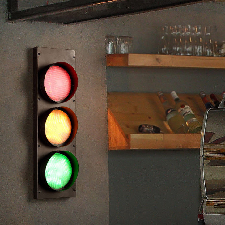Vintage-Multicolor-Metal-Traffic-Signal-Lights-LED-Lighting-Sconce-Wall-Lamp miniature 10