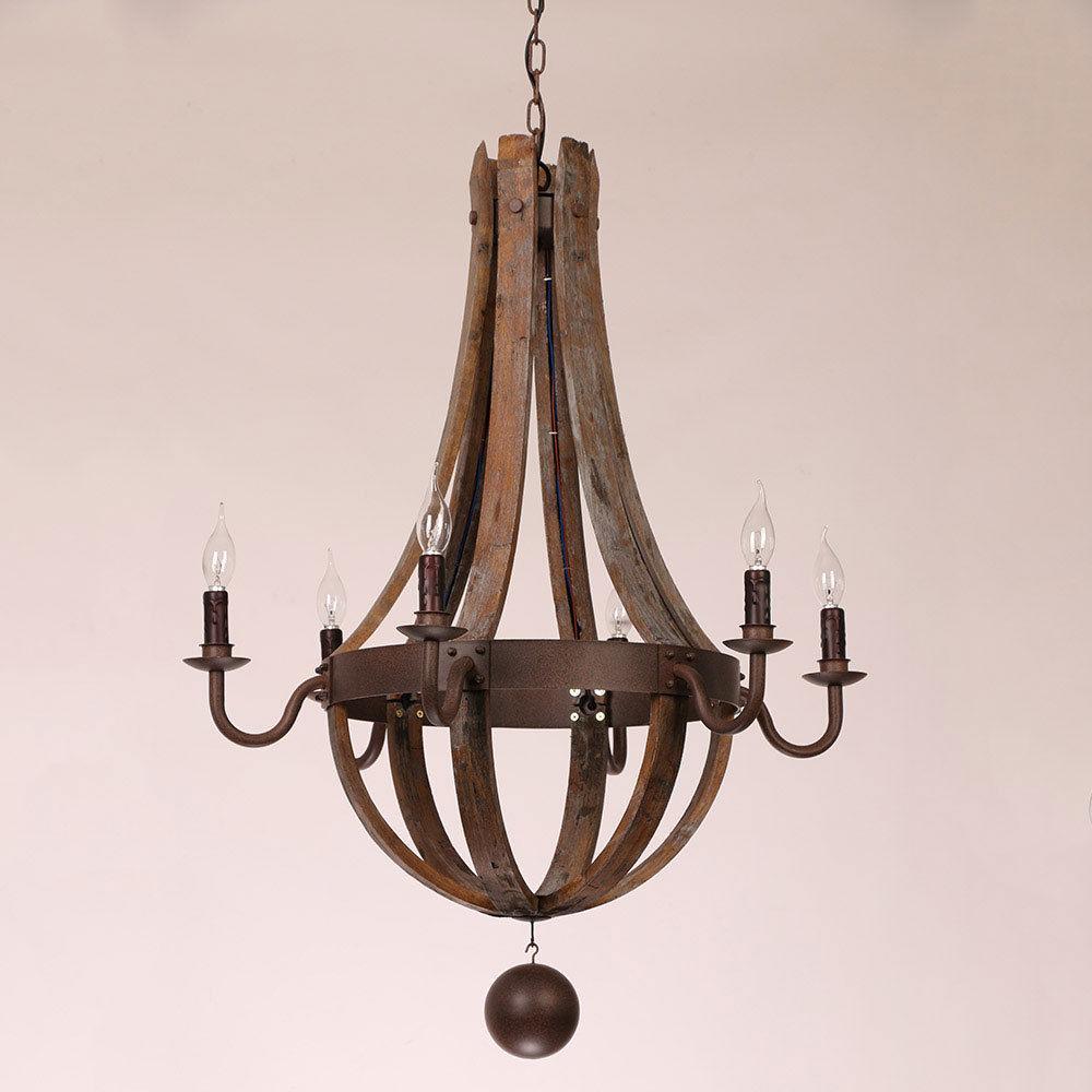 Exceptionnel Details About Retro Chandelier Pendant Wine Barrel Stave Wood Rust Metal  Candle Light Fixtures
