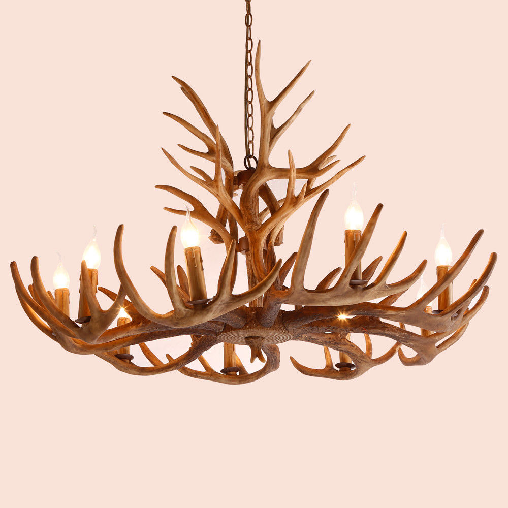 Cottage Style Faux Deer Antler Resin Branch Chandelier