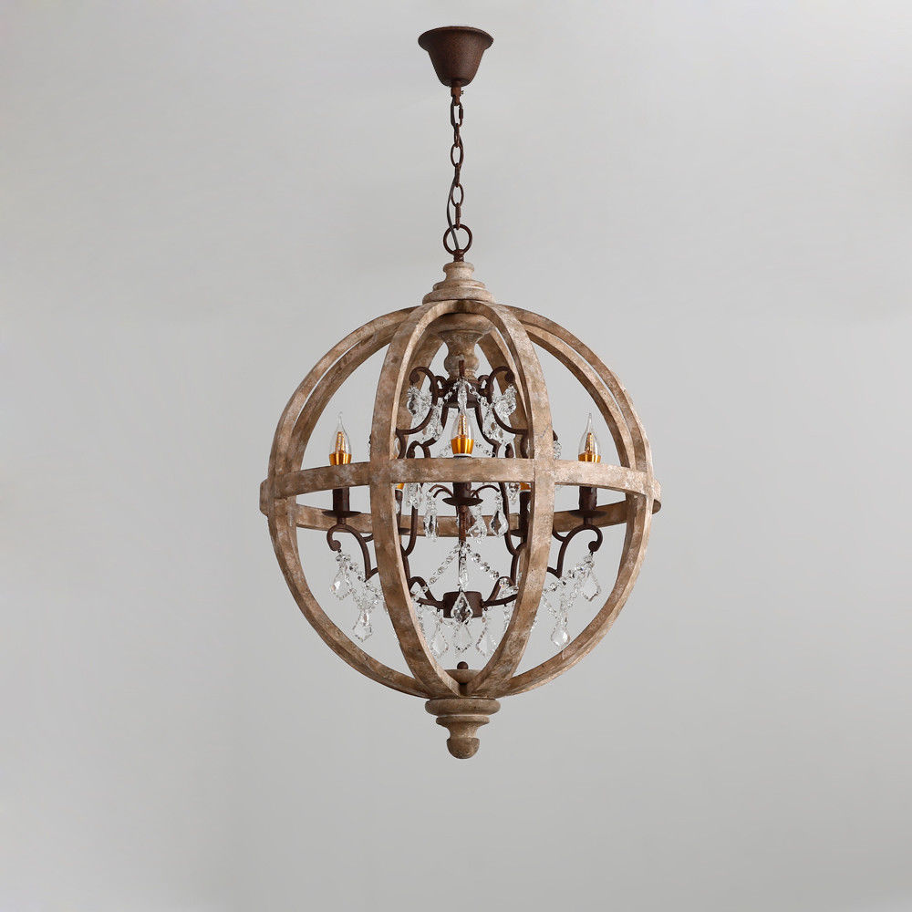 Details about retro chandelier pendant wood globe caged rust metal crystal ceiling light lamp