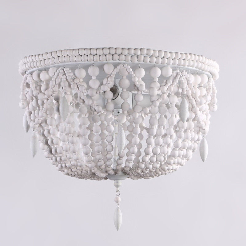 Details About Country Classic Distressed White Wood Bead Metal Frame Flush Mount Lighting Lamp