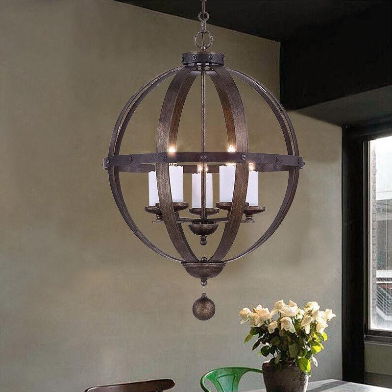 Vintage Pendant Lamp Globe Shaped Metal Cage Chandelier
