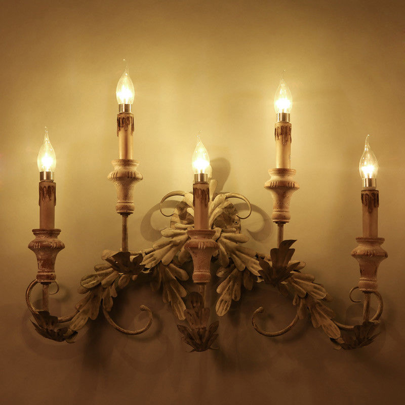 Large Metal Wood Acanthus Leaf Indoor Sconce Fittings ...