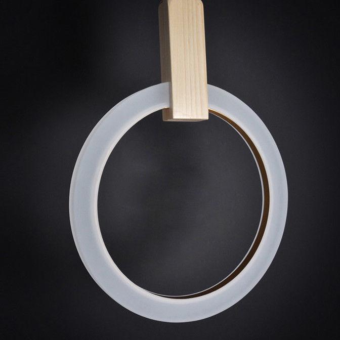 Details about Minimalist LED Ceiling Decor Lamp Ring Acrylic Diffuser Wood  Pendant Light S/M/L