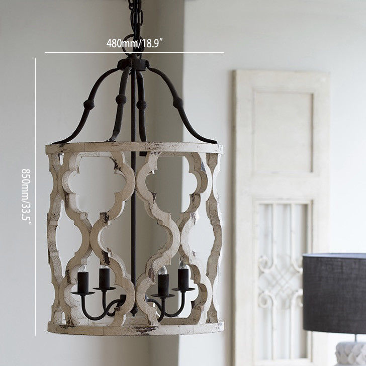 Farmhouse Kitchen Chandelier: Vintage Kitchen Hanging Lantern Distressed White Carved