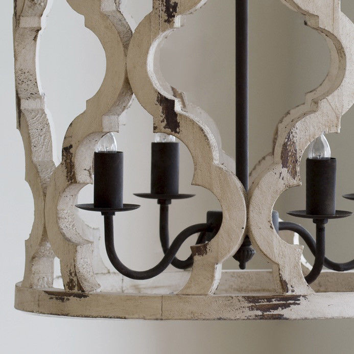 Vintage Kitchen Hanging Lantern Distressed White Carved