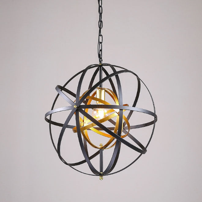 Industrial 1-Light Metal Strap Orb Sphere Modern Ceiling