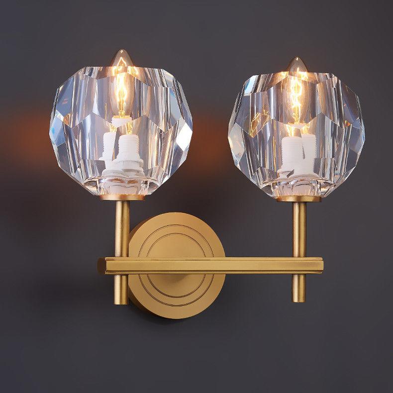 Homary Polyhedron Clear Crystal Ball Bath Vanity 2 Light