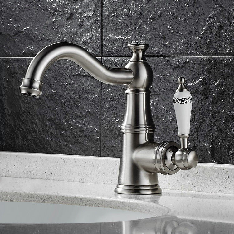 Classic Victorian Style Bathroom Sink Faucet 1 Hole White Single