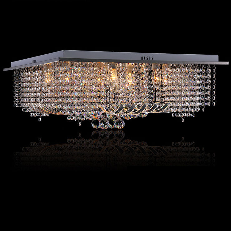 Luxury Spectacular Square Crystal Flush Mount Ceiling Fixture Light 5-Star Hotel