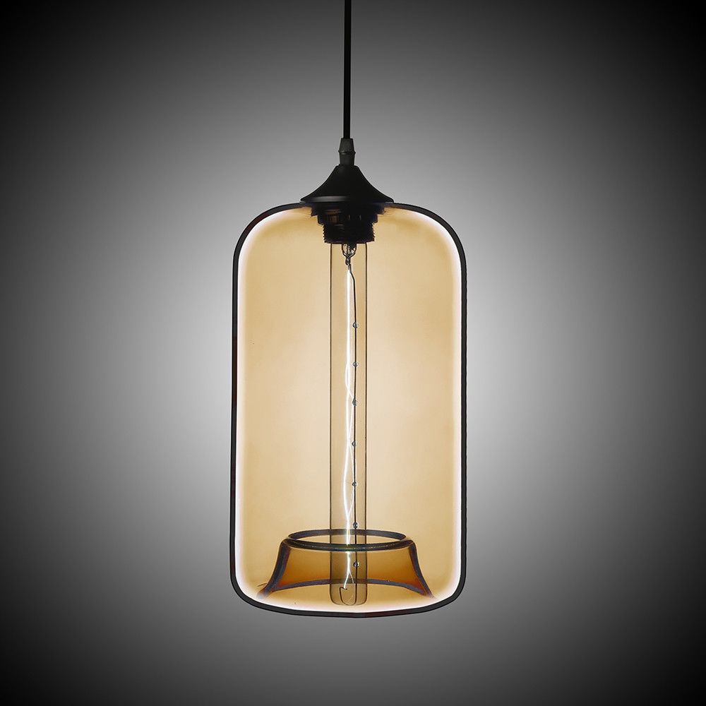 Details About Contemporary Concave Rectangular Shade Hand Blown Glass Hanging Pendant Light