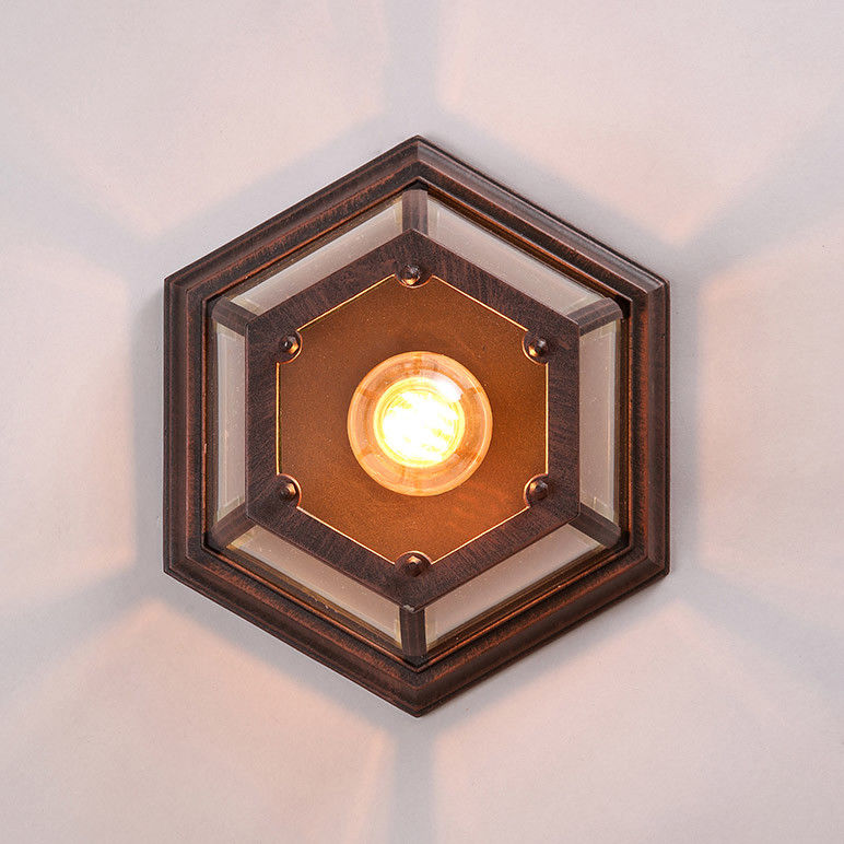 promo code 2221d f3ea6 Details about Retro Rustic Ceiling Light Hexagon Metal Framed Glass Shade  Flush Mount Lamp