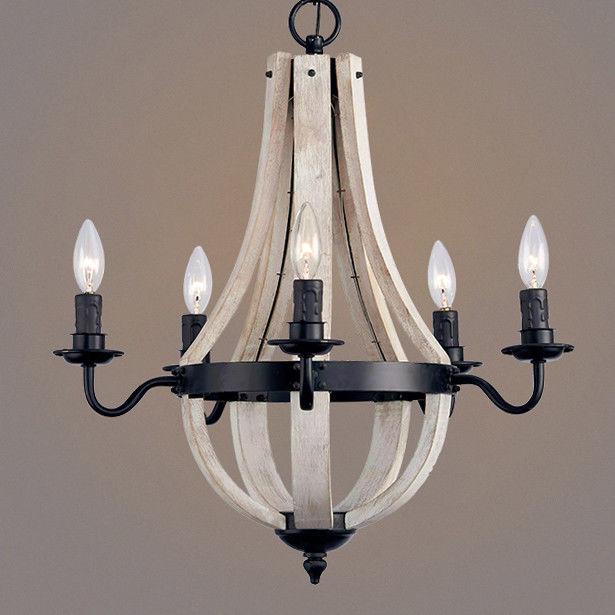 Details About Rustic Reclaimed Wood U0026 Black Metal Wine Barrel Stave Ceiling  Chandelier Light