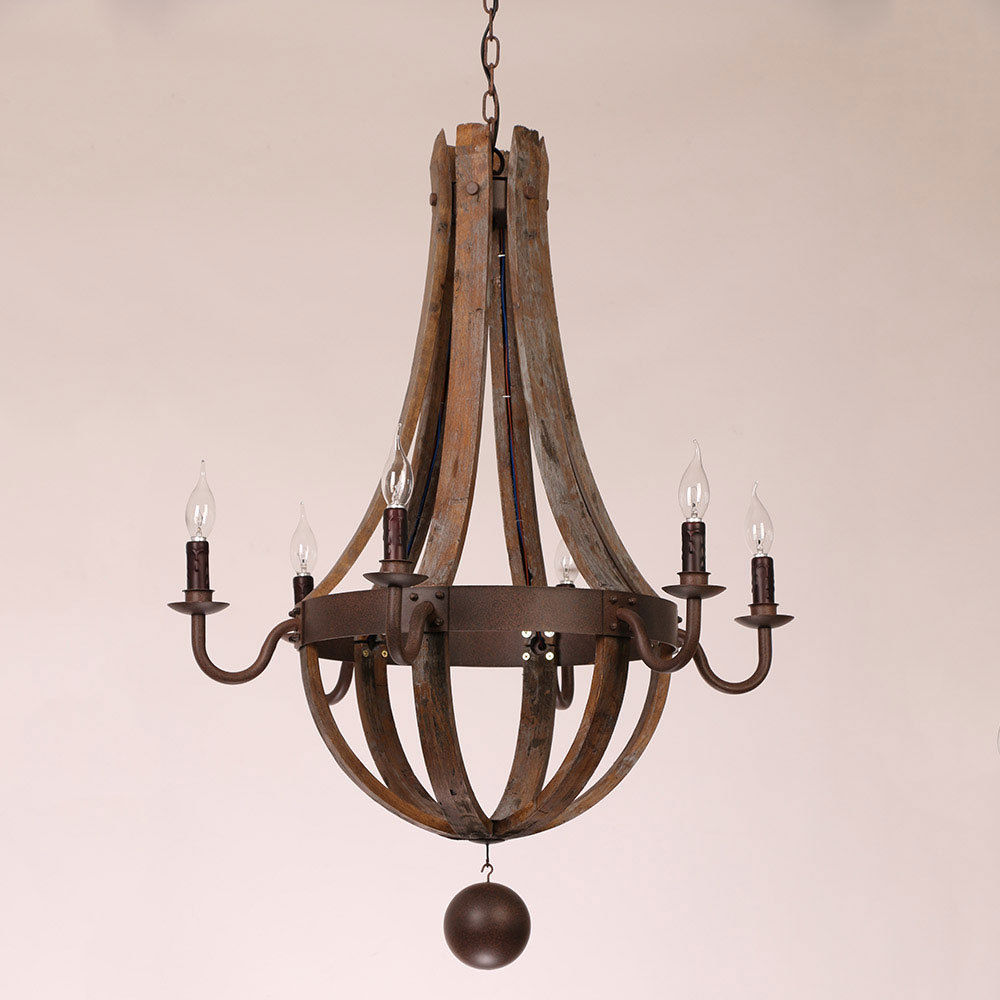 Rustic Wine Barrel Stave Wood Amp Rust Metal Chandelier With