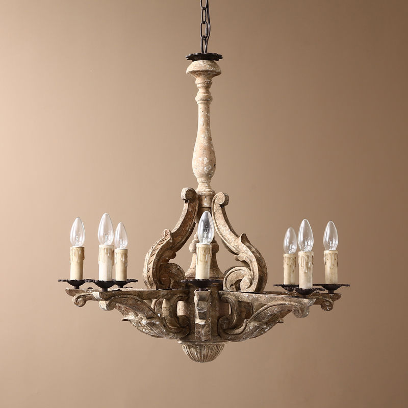 Retro French Country Chandelier Carved Wood 8 Candle