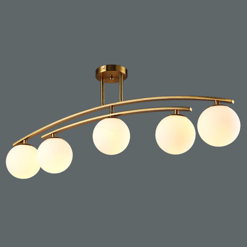 Contemporary White Glass Globe Ceiling Lamp 3/4/5-Light
