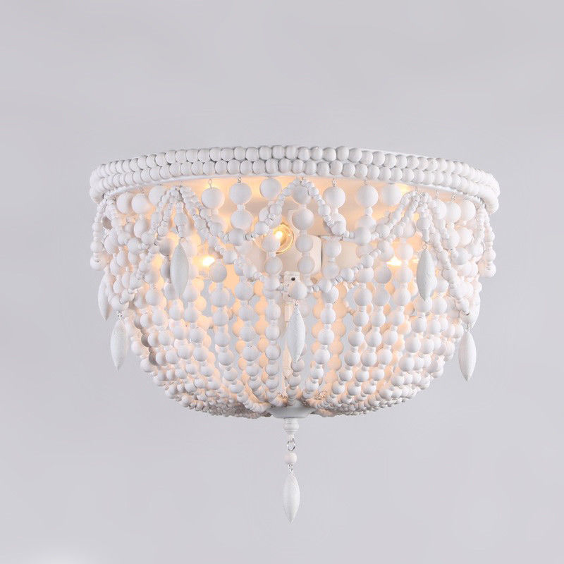 Details About Country Classic Distressed White Wood Bead Flush Mount Ceiling Lighting Fixture