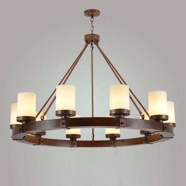 Details About Rustic Round Wood Frame Beige Cylindrical Glass Shade Chandelier Ceiling Fixture