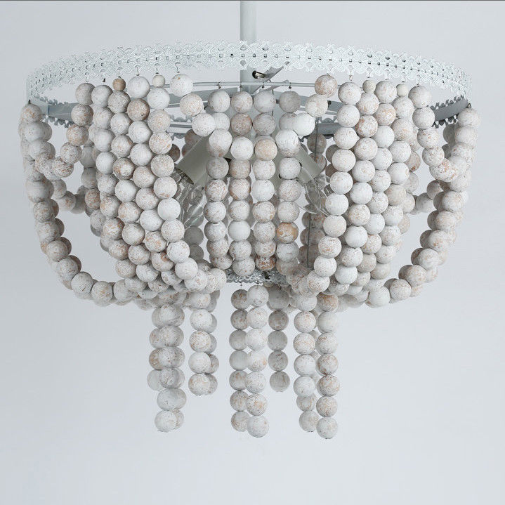 Details About Ceiling Mounted Light White Frame And Rustic Round Wood Beads Semi Flush Mount