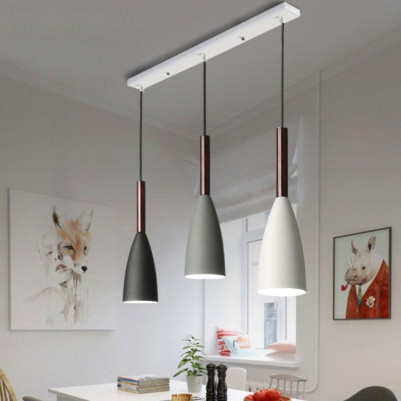 Details About Modern Minimalist Wood Metal Dome Shade 3 Light Hanging Led Pendant Light