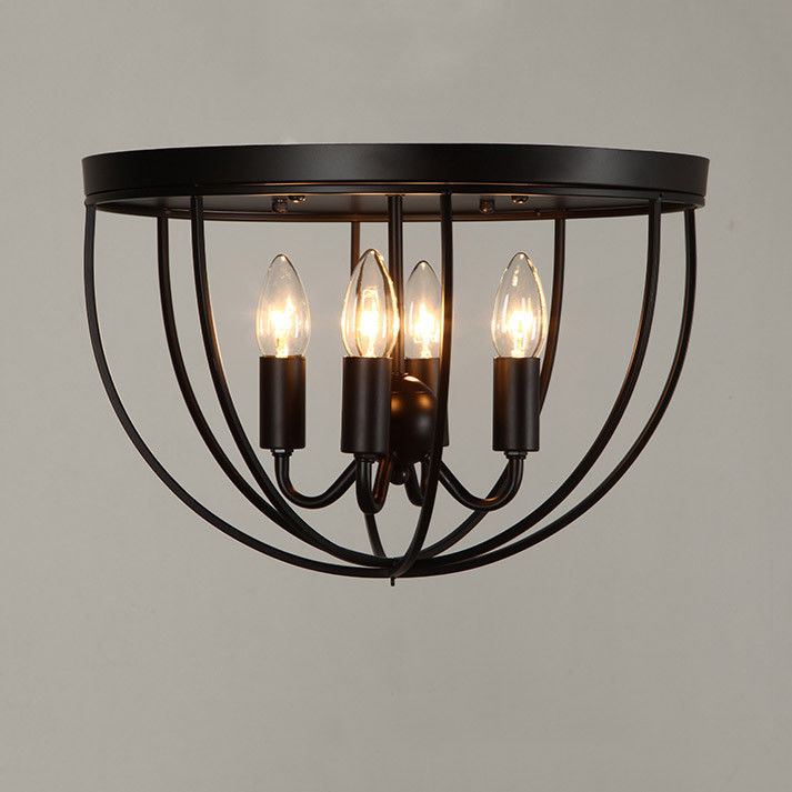 Rustic 4 Candle Light Black Metal Round Cage Ceiling