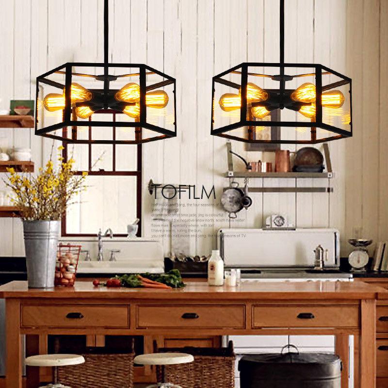 Vintage Glass Hexagon 6-Light Ceiling Fixture Kitchen Hang ...